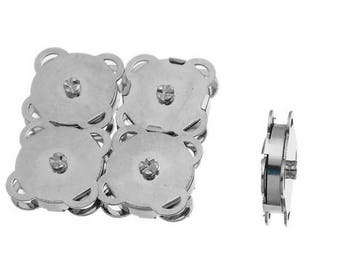 Lot 5 snap clasp loving 19 mm magnetic sewing, silver color