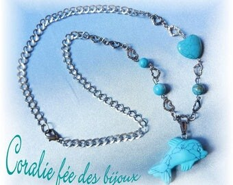 Silver heart, dolphin, beads and natural turquoise stone heart chain necklace