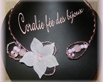 Silk flower and pretty pink beads necklace