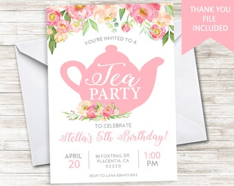 Tea Party Invitation Invite Digital 5x7 Watercolor Floral High Tea Birthday Kids ANY AGE Pink Girls Flowers