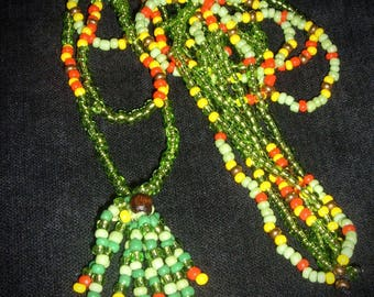 Mexico necklace three rows of seed y tassel