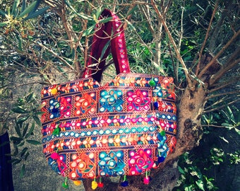 Indian cotton, mini tote bag mirrors, embroidery