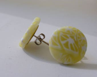 Round Stud Earrings lemon yellow and white