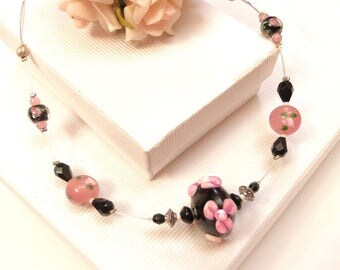 color black and pink ● ● cable wire necklace