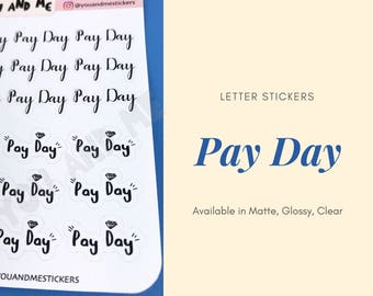 Pay Day   Lettering Stickers   Planner Stickers   Reminder Stickers   Erin Condren   ECLP   Happy Planner   Bullet Journal   HS14