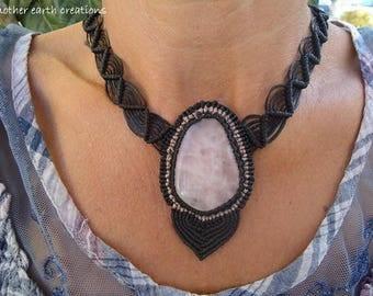 Macrame necklace with rose quartz crystal