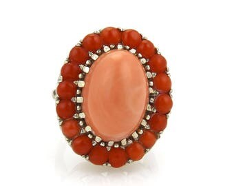 Retro Coral Large Oval 14k White Gold Dome Ring