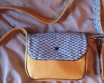 small handbag (23x18cm) autumn yellow, gray and silver geometric Interior.