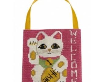 Suspension Maneki Neko counted cross stitch Kit