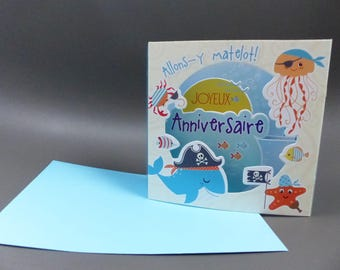 3D birthday card for sailor sea pirate ship