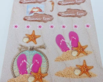 sheet A4 images precut to assemble for a summer tong star sea summer theme 3D effect love heart