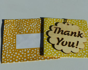 Thank you wooden thank you card and matching envelope