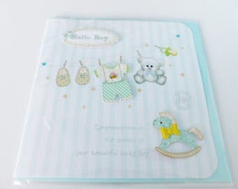 baby boy in It's 3D card has boy greeting card with envelope