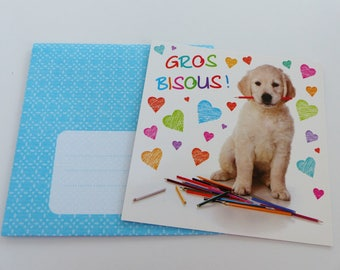 card and little dog love heart pencils card square with envelope