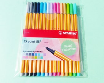 15 markers pastel collection stabilo pen 88 tip fine 0.4 mm felt writing pen drawn precision write draw sketch drawn