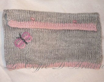 DS pouch knitted gray and pink and Butterfly