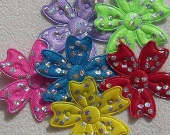24 EMBELLISHMENTS flowers 3 cm SATIN has silver polka dots