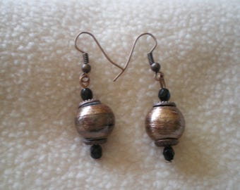 Fancy earrings gold Brown beads on copper rod