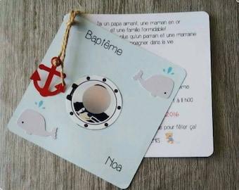 small square sailor theme invitation