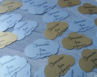 sweets theme gold and silver cloud gift tags