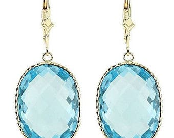 14K Yellow Gold Handmade Gemstone Earrings With Large Oval Blue Topaz Gemstones