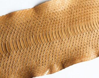 Matte water snake skin Brown 90 cm x 17cm