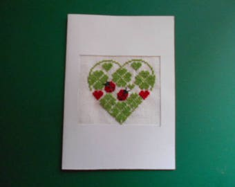 Embroidered card handmade on canvas - shamrocks and ladybugs