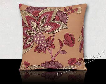 Cushion square large stylized purple/white/fuchsia/plum exotic flowers on pink powder