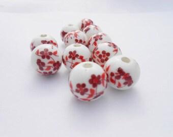 Porcelain beads, 12 mm floral