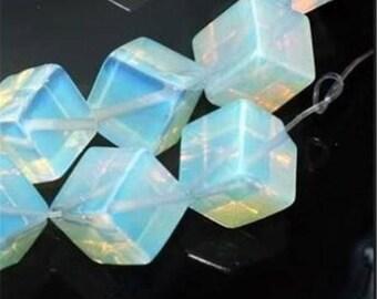 5 beads cube composite Moonstone 8 x 8 mm. (PDLCUBE8x8mm)