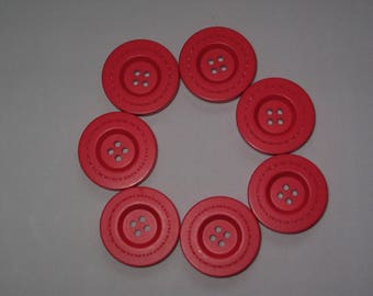 Set of 8 red 4 hole round buttons