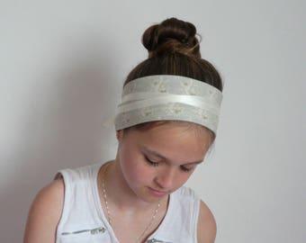 This headband shabby chic, blue headband with small flowers ecru