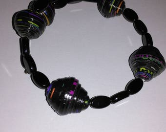 Paper beads and glass beads bracelet