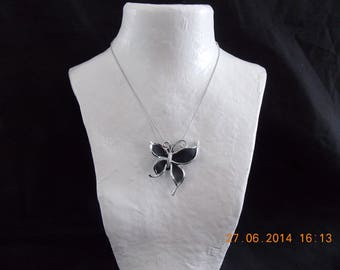 BUTTERFLY BLACK METAL CHAIN NECKLACE