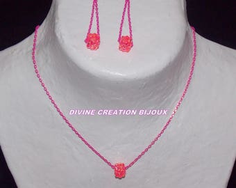Neon pink ornament made with Korean beads style schamballa