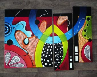 Triptych abstract acrylic paintings