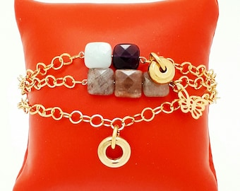 Bracelet multi row gold stainless steel and natural stones