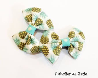 Hair clip double bow on the bias with white cotton printed pineapple X 2