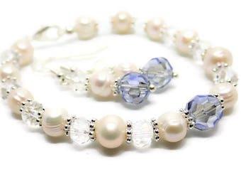 Bridal jewellery set - something blue jewelry set - wedding bracelet - wedding earrings - wedding jewelry - something blue set