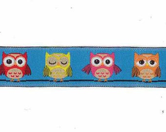 Ribbon trim woven fancy turquoise owls by the yard