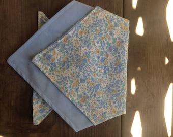 SMALL Floral/ Baby blue fabric BANDANA (reversible)