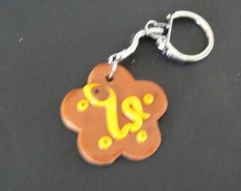Brown polymer clay flower keychain