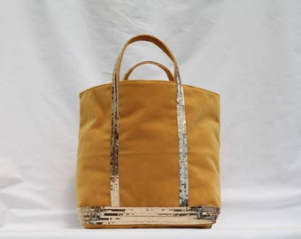 New! The yellow bag old gold velvet has round sequins