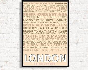 London print, London tourist guide,