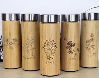 Bamboo Stainless Steel Thermos Flask - Keep your Drink warmer for longer - Gifts for Tea or Coffee Lovers - Vacuum Flask - Thermos Flask