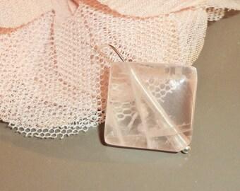 Pearl rose quartz square 22 x 22 mm-8 mm