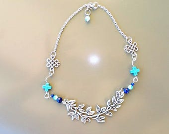 Kit ethnic necklace, silver and turquoise bib connector silver leaf necklace