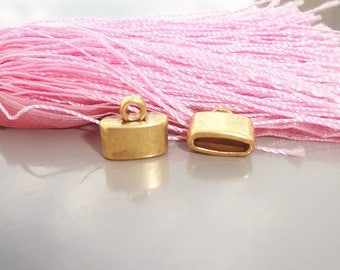 Golden 2 x end caps for leather suede bracelet cord 10 x 11.5