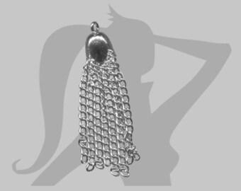 Pompon chaines en métal argenté 3,5 cm