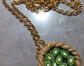Tart kiwi Fimo necklace